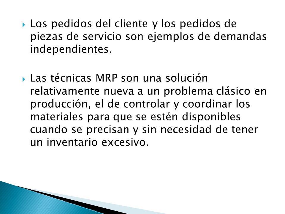 Los pedidos del cliente y los pedidos de piezas de servicio son ejemplos de demandas independientes.