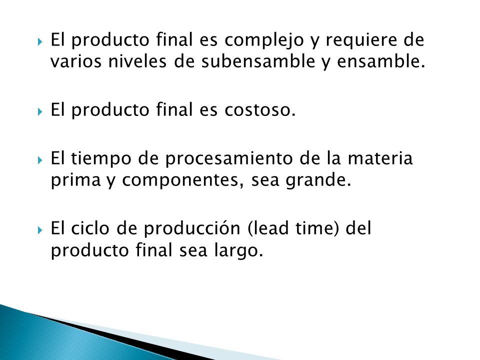 El producto final es complejo y requiere de varios niveles de subensamble y ensamble.