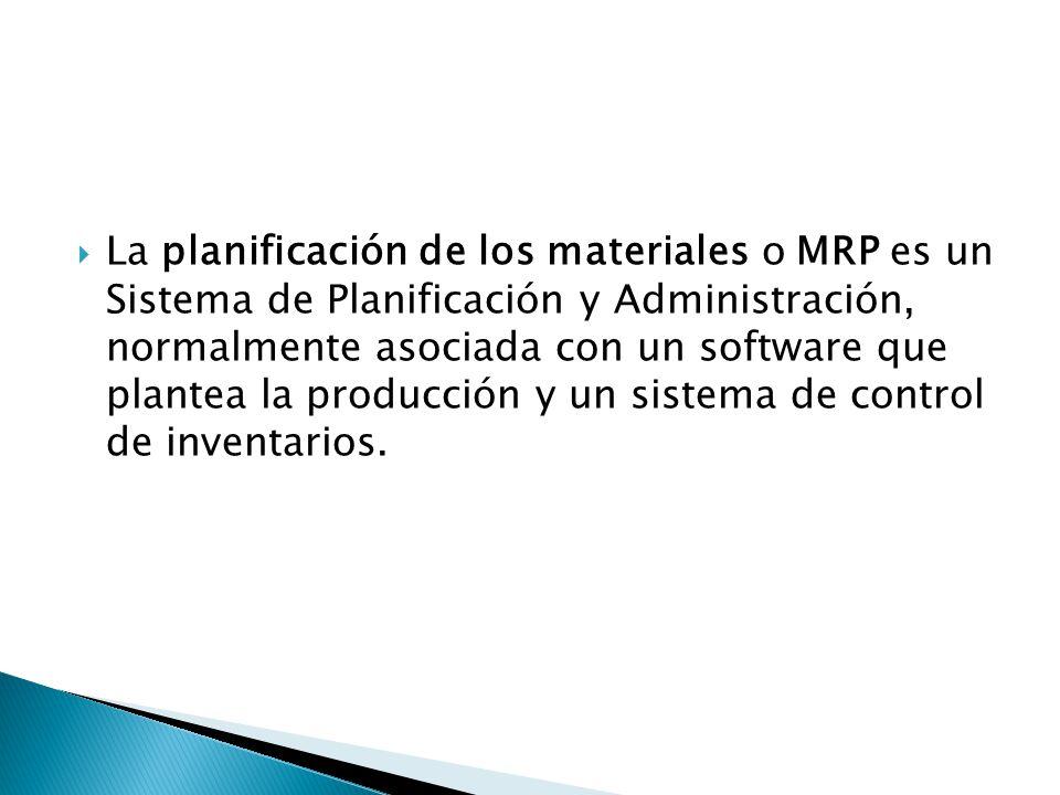 La planificación de los materiales o MRP es un Sistema de Planificación y Administración, normalmente asociada con un software que plantea la producción y un sistema de control de inventarios.