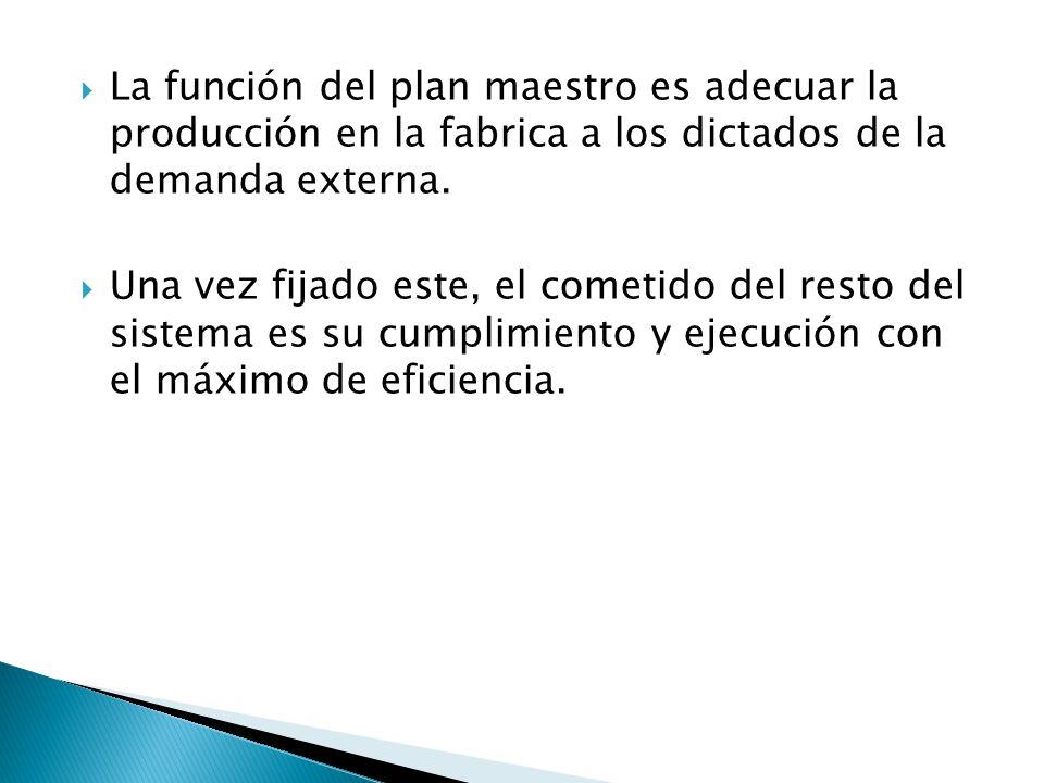 La función del plan maestro es adecuar la producción en la fabrica a los dictados de la demanda externa.