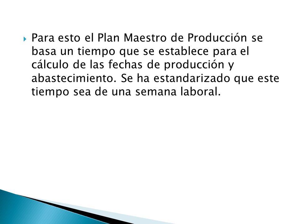 Para esto el Plan Maestro de Producción se basa un tiempo que se establece para el cálculo de las fechas de producción y abastecimiento.