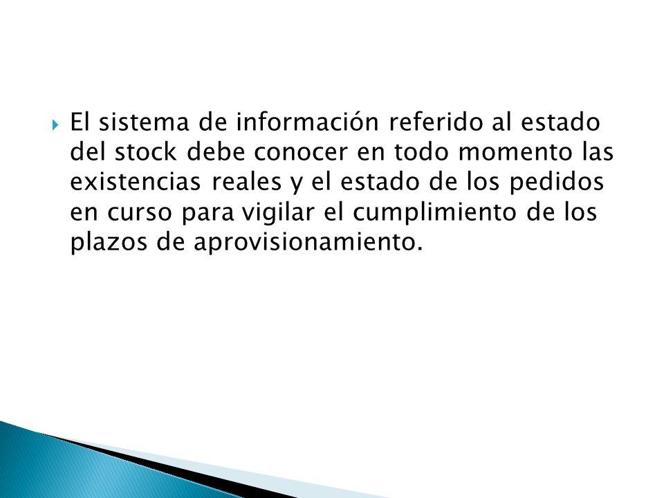 El sistema de información referido al estado del stock debe conocer en todo momento las existencias reales y el estado de los pedidos en curso para vigilar el cumplimiento de los plazos de aprovisionamiento.