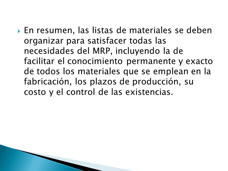 En resumen, las listas de materiales se deben organizar para satisfacer todas las necesidades del MRP, incluyendo la de facilitar el conocimiento permanente y exacto de todos los materiales que se emplean en la fabricación, los plazos de producción, su costo y el control de las existencias.