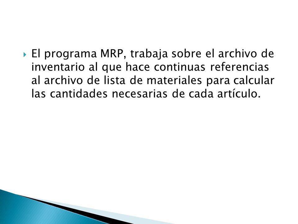 El programa MRP, trabaja sobre el archivo de inventario al que hace continuas referencias al archivo de lista de materiales para calcular las cantidades necesarias de cada artículo.