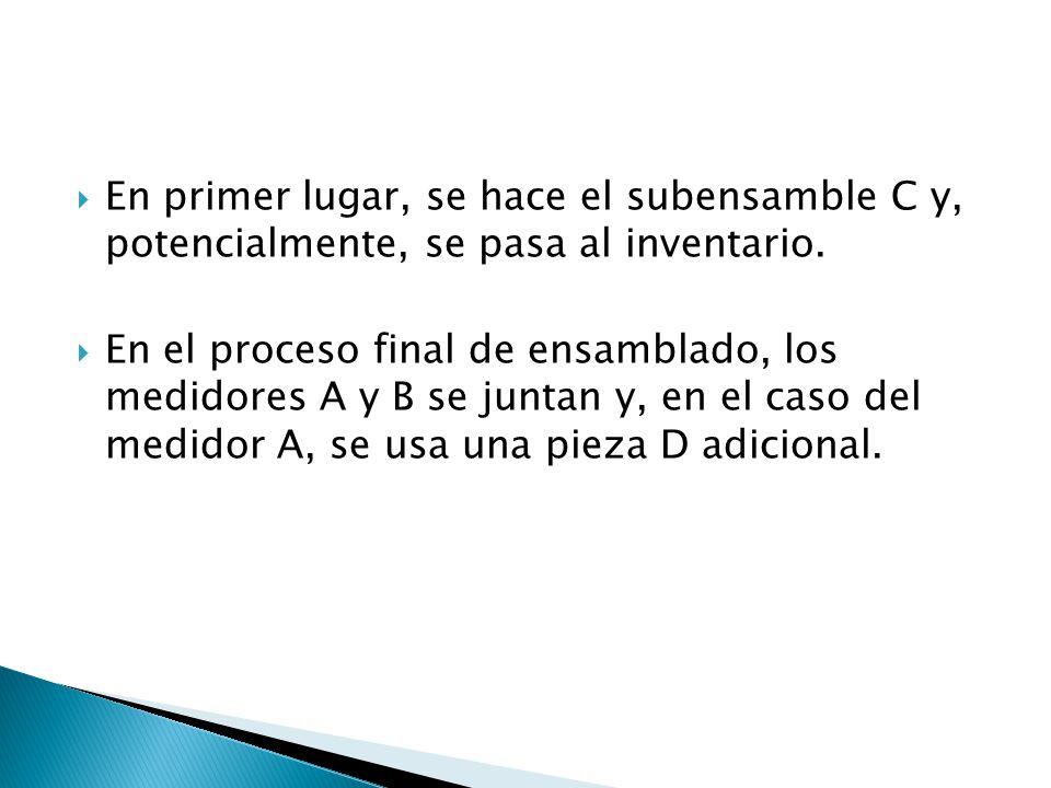En primer lugar, se hace el subensamble C y, potencialmente, se pasa al inventario.