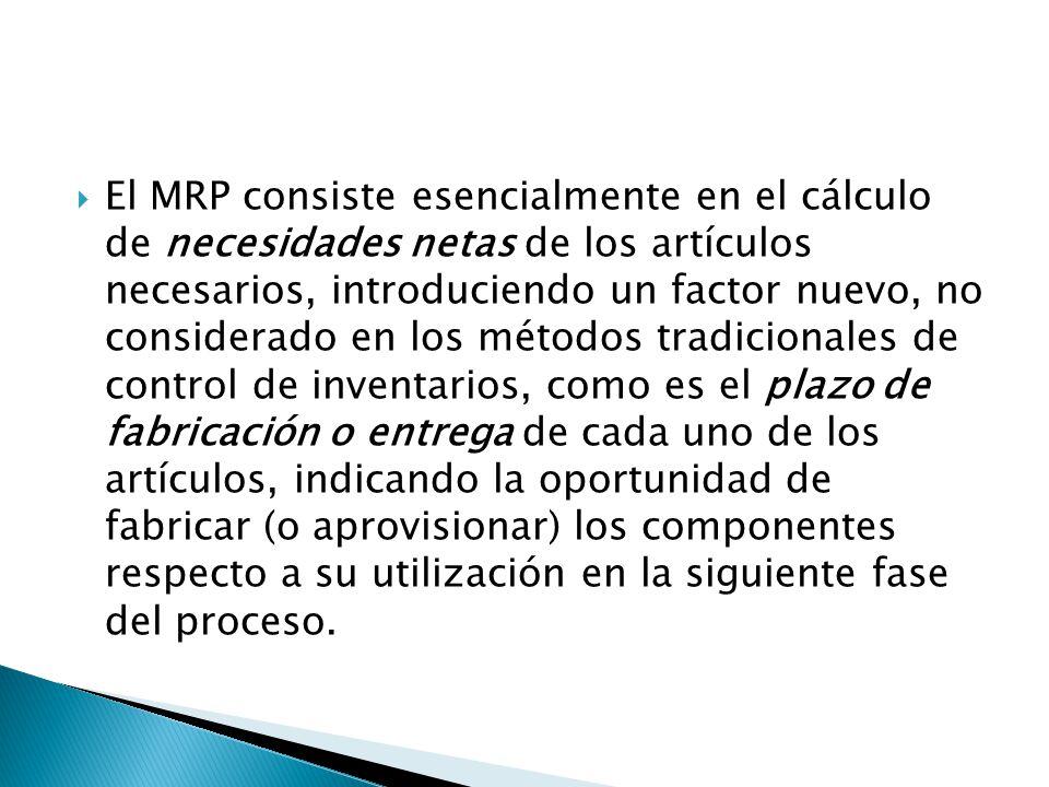 El MRP consiste esencialmente en el cálculo de necesidades netas de los artículos necesarios, introduciendo un factor nuevo, no considerado en los métodos tradicionales de control de inventarios, como es el plazo de fabricación o entrega de cada uno de los artículos, indicando la oportunidad de fabricar (o aprovisionar) los componentes respecto a su utilización en la siguiente fase del proceso.