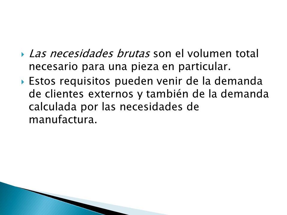 Las necesidades brutas son el volumen total necesario para una pieza en particular.
