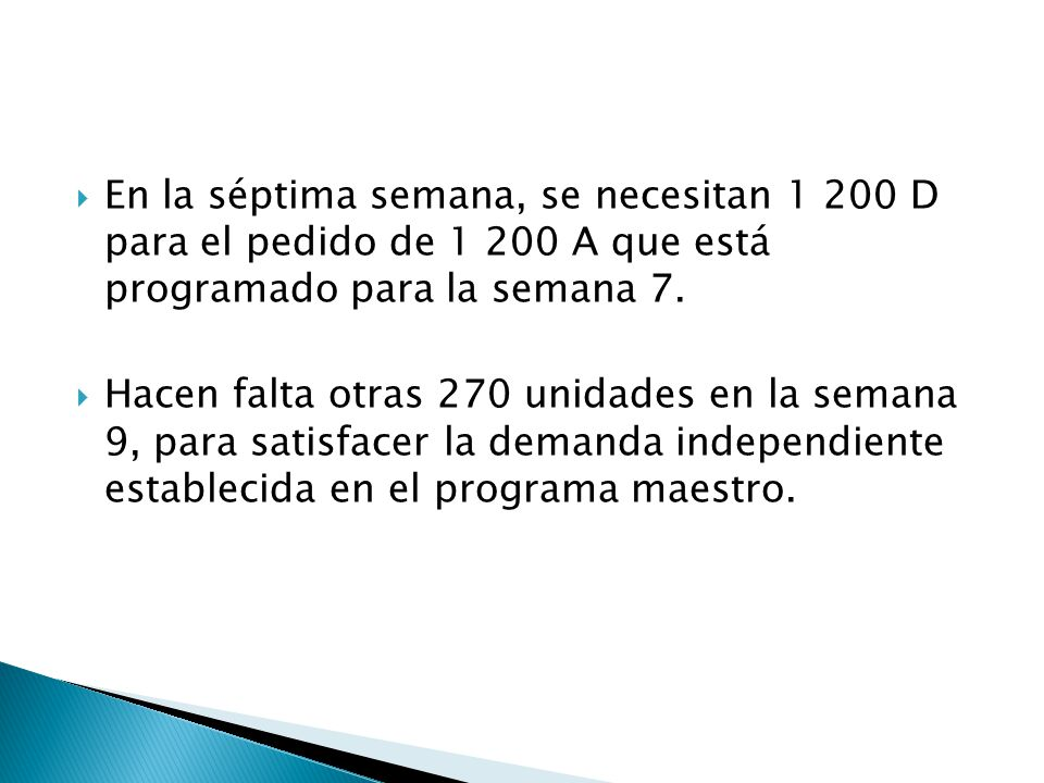 En la séptima semana, se necesitan 1 200 D para el pedido de 1 200 A que está programado para la semana 7.