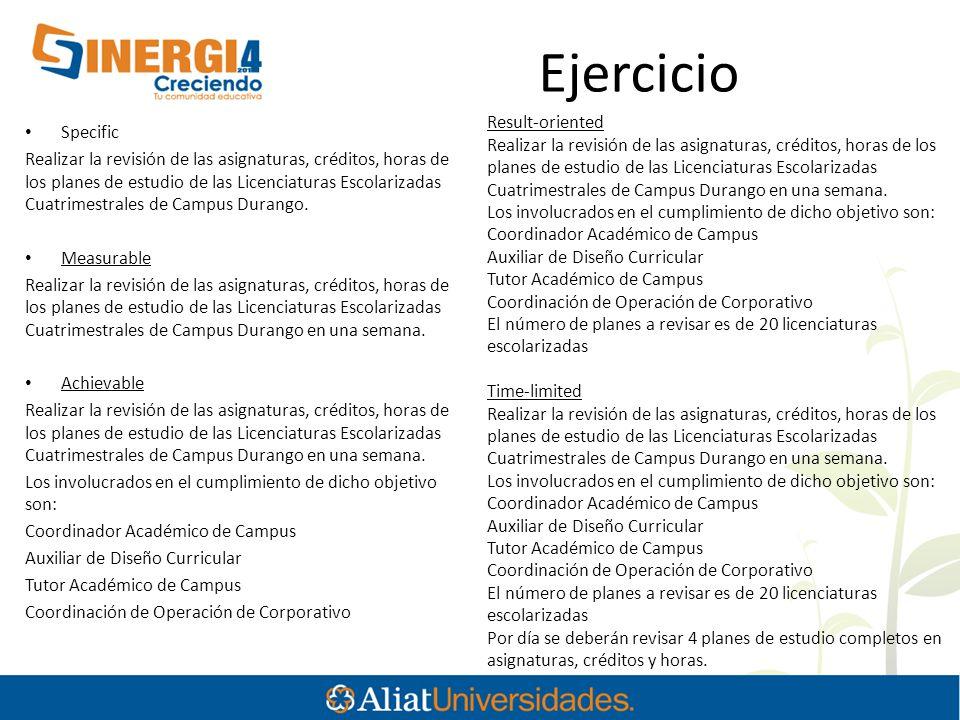 Ejercicio Result-oriented Specific