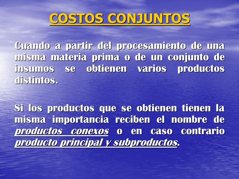 COSTOS CONJUNTOS Cuando a partir del procesamiento de una misma materia prima o de un conjunto de insumos se obtienen varios productos distintos.