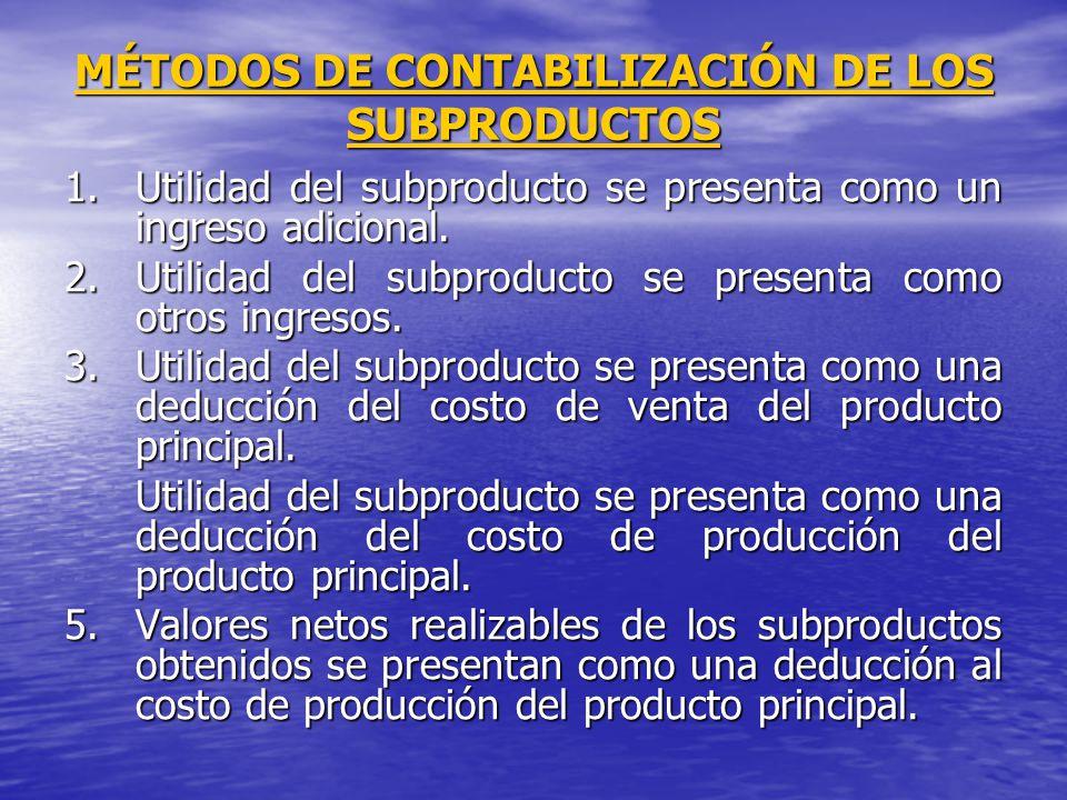 MÉTODOS DE CONTABILIZACIÓN DE LOS SUBPRODUCTOS