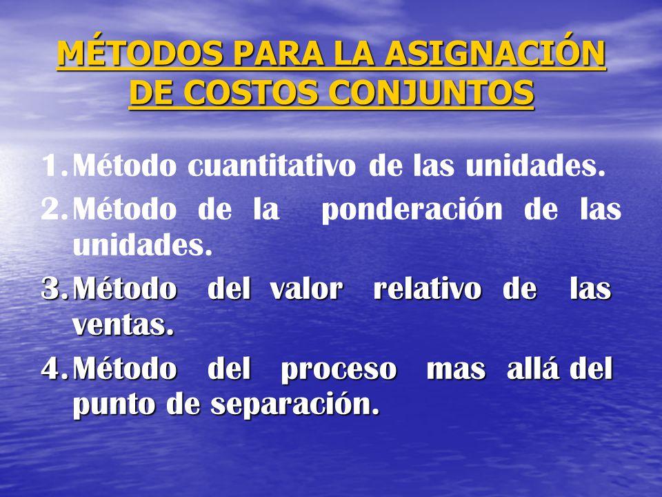 MÉTODOS PARA LA ASIGNACIÓN DE COSTOS CONJUNTOS