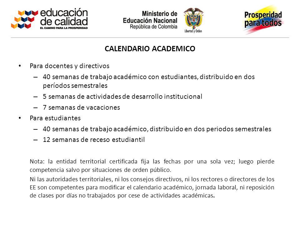CALENDARIO ACADEMICO Para docentes y directivos