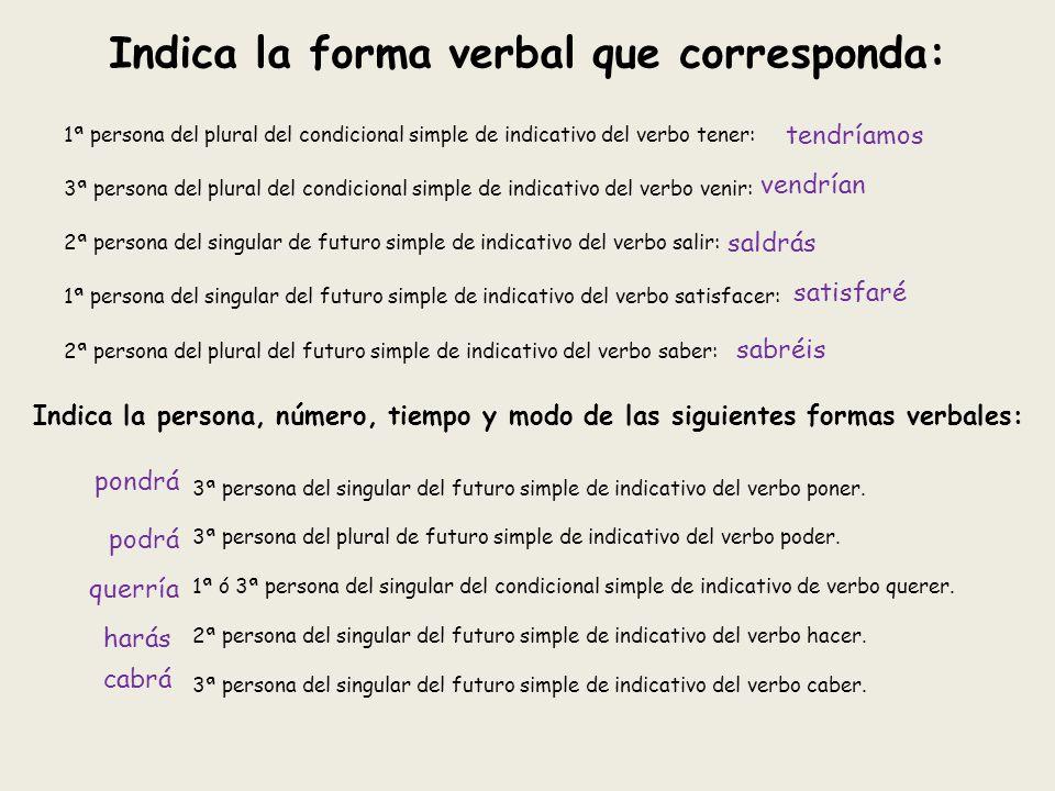 Indica la forma verbal que corresponda: