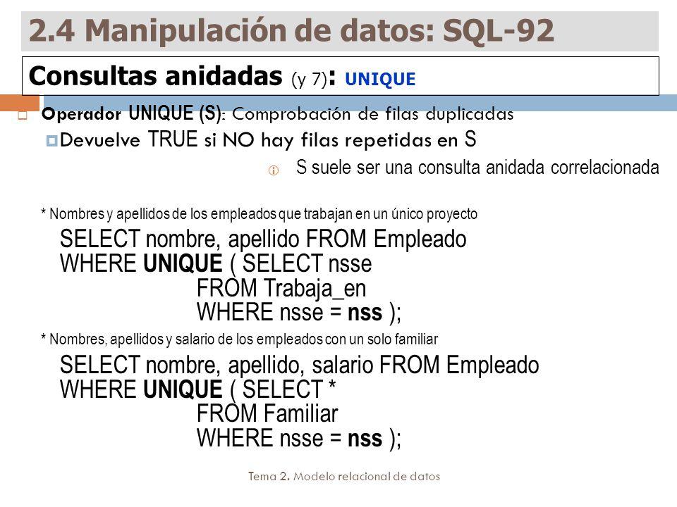 2.4 Manipulación de datos: SQL-92