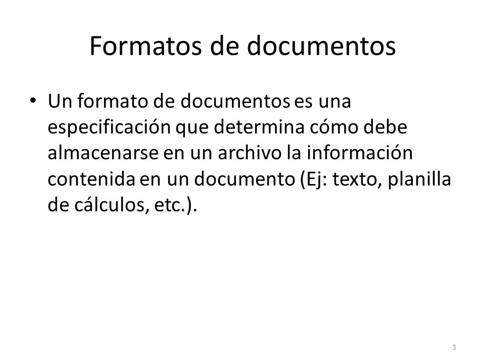 Formatos de documentos