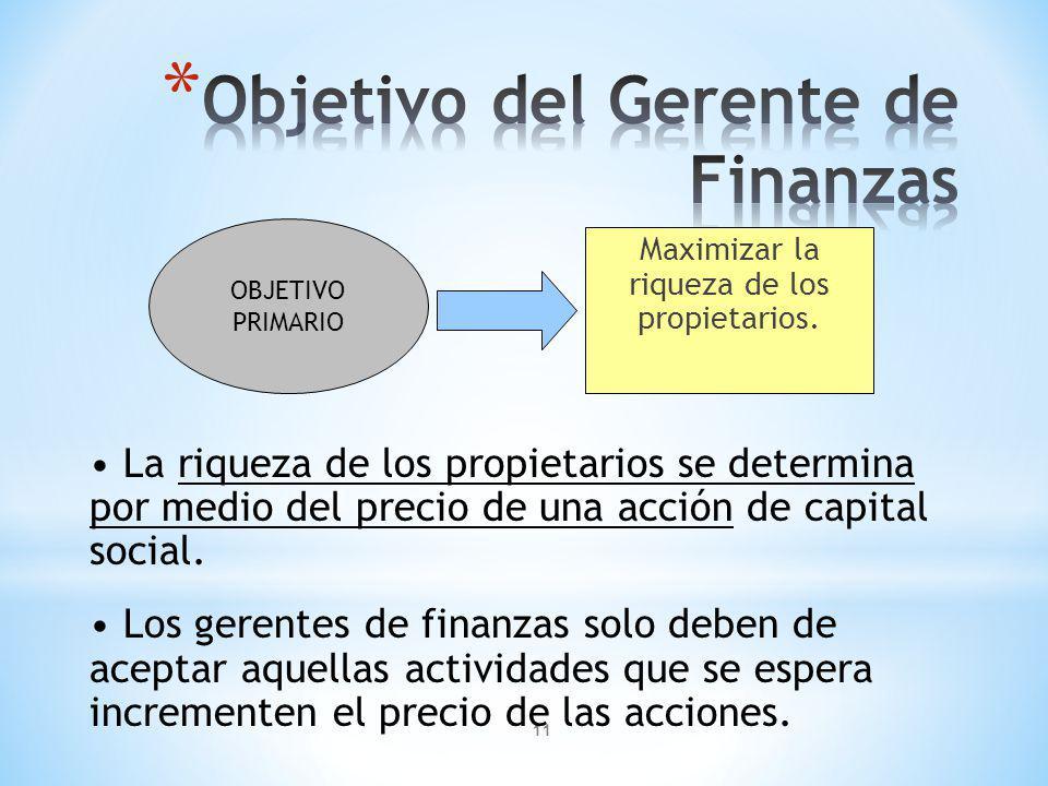 Objetivo del Gerente de Finanzas