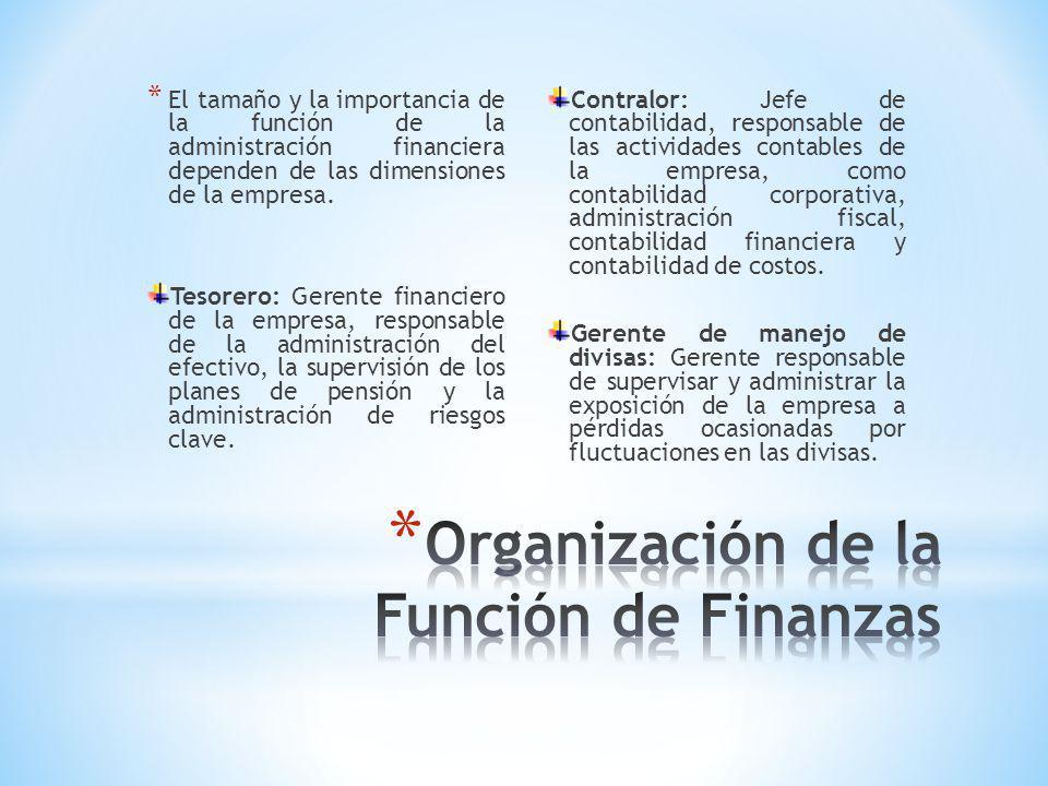 Organización de la Función de Finanzas