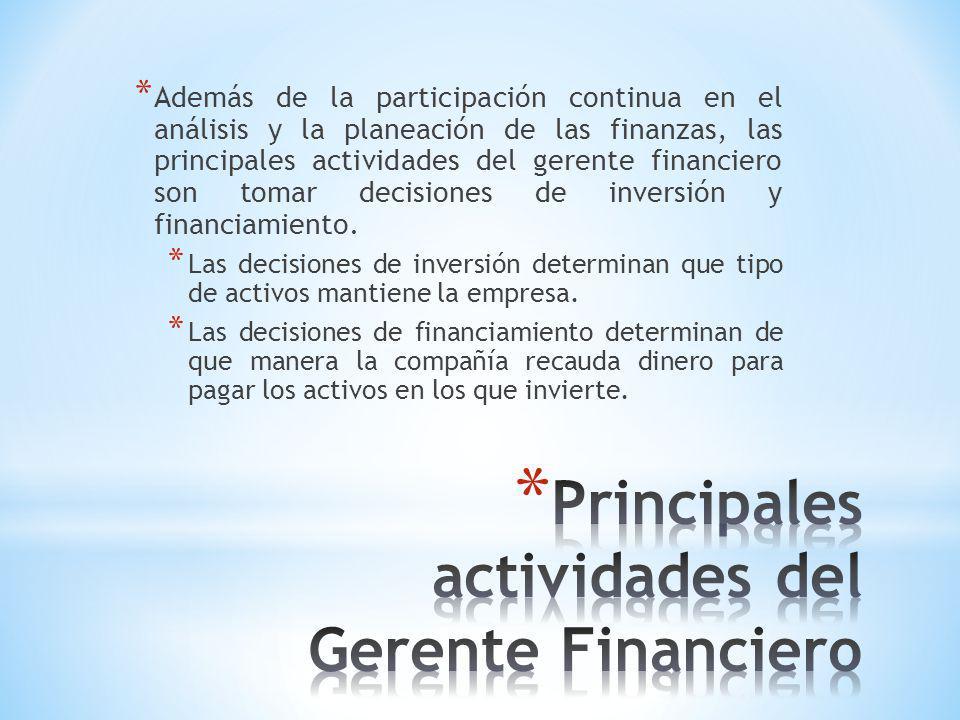 Principales actividades del Gerente Financiero