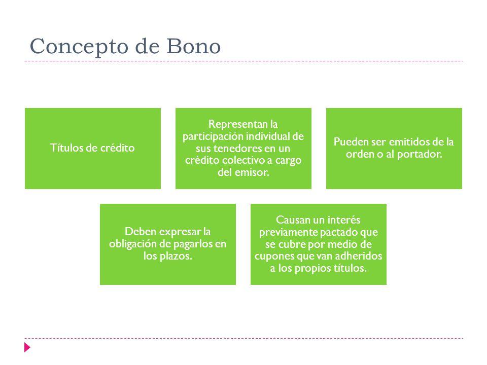 Concepto de Bono Títulos de crédito. Representan la participación individual de sus tenedores en un crédito colectivo a cargo del emisor.
