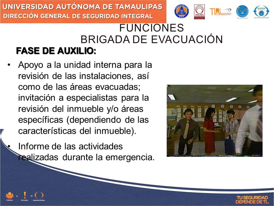FUNCIONES BRIGADA DE EVACUACIÓN FASE DE AUXILIO: