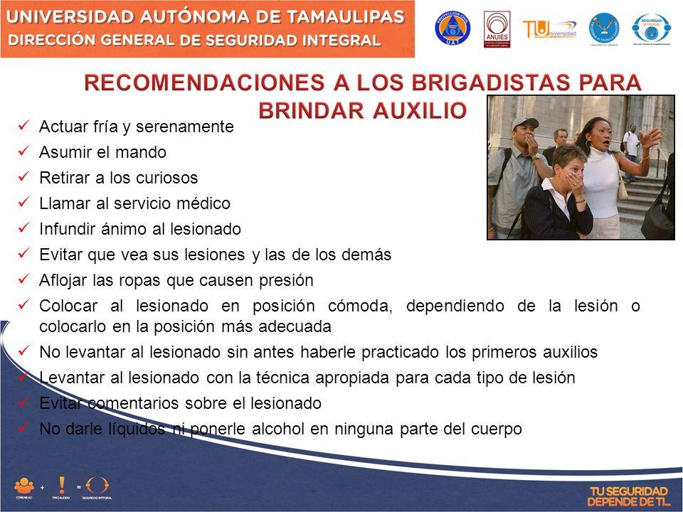 RECOMENDACIONES A LOS BRIGADISTAS PARA BRINDAR AUXILIO