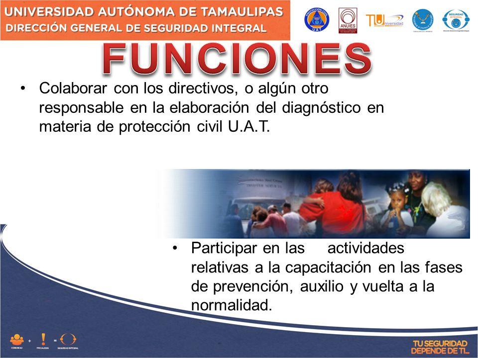 FUNCIONES Colaborar con los directivos, o algún otro responsable en la elaboración del diagnóstico en materia de protección civil U.A.T.