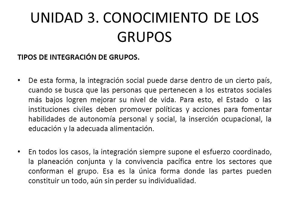 UNIDAD 3. CONOCIMIENTO DE LOS GRUPOS