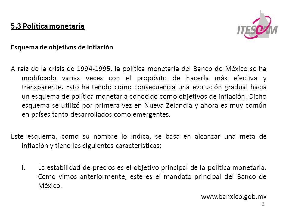 5.3 Política monetaria Esquema de objetivos de inflación.