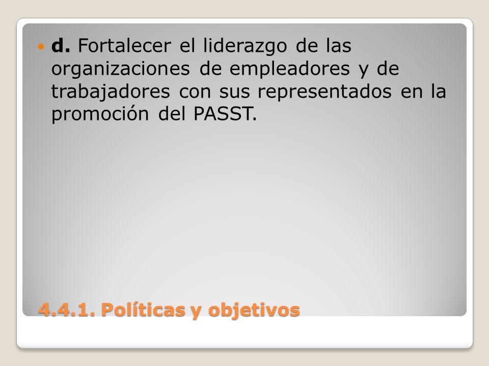 d. Fortalecer el liderazgo de las organizaciones de empleadores y de trabajadores con sus representados en la promoción del PASST.