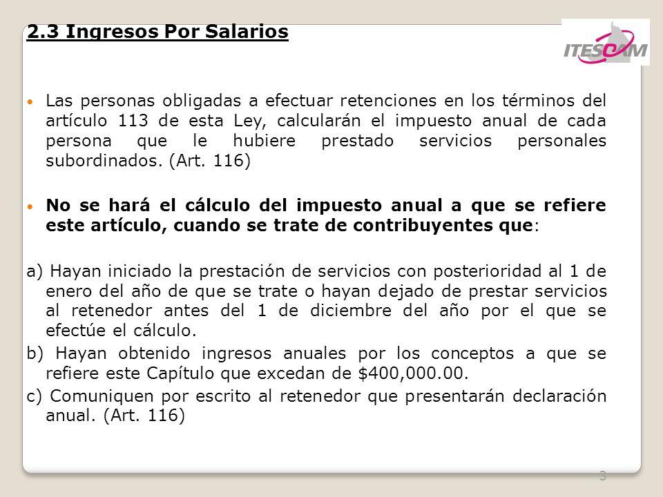 2.3 Ingresos Por Salarios