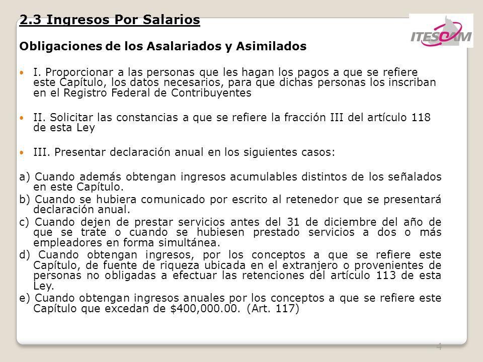 2.3 Ingresos Por Salarios Obligaciones de los Asalariados y Asimilados