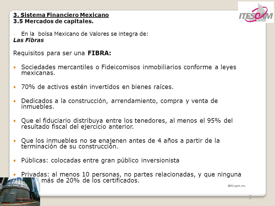 Requisitos para ser una FIBRA: