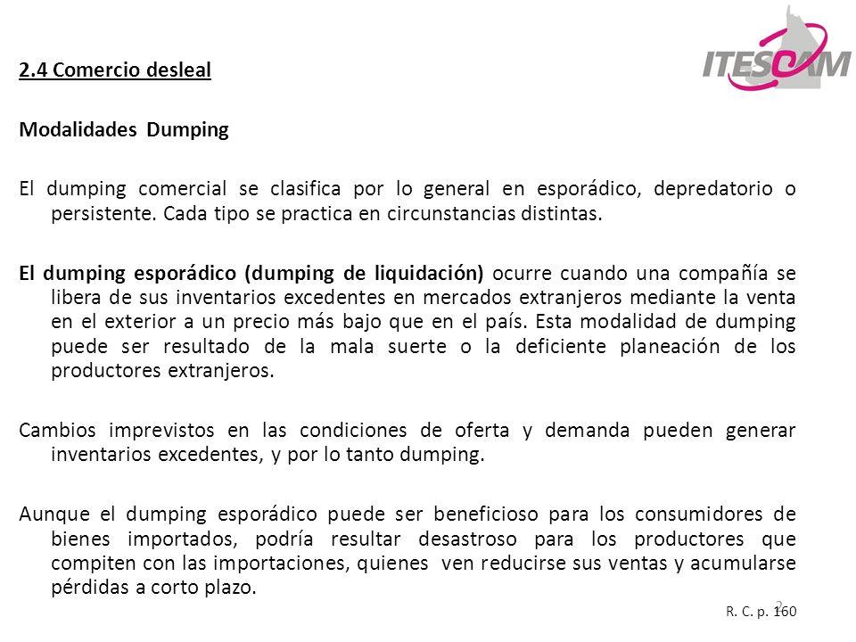 2.4 Comercio desleal Modalidades Dumping
