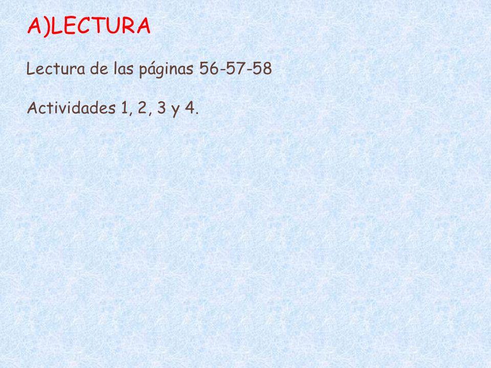 LECTURA Lectura de las páginas 56-57-58 Actividades 1, 2, 3 y 4.