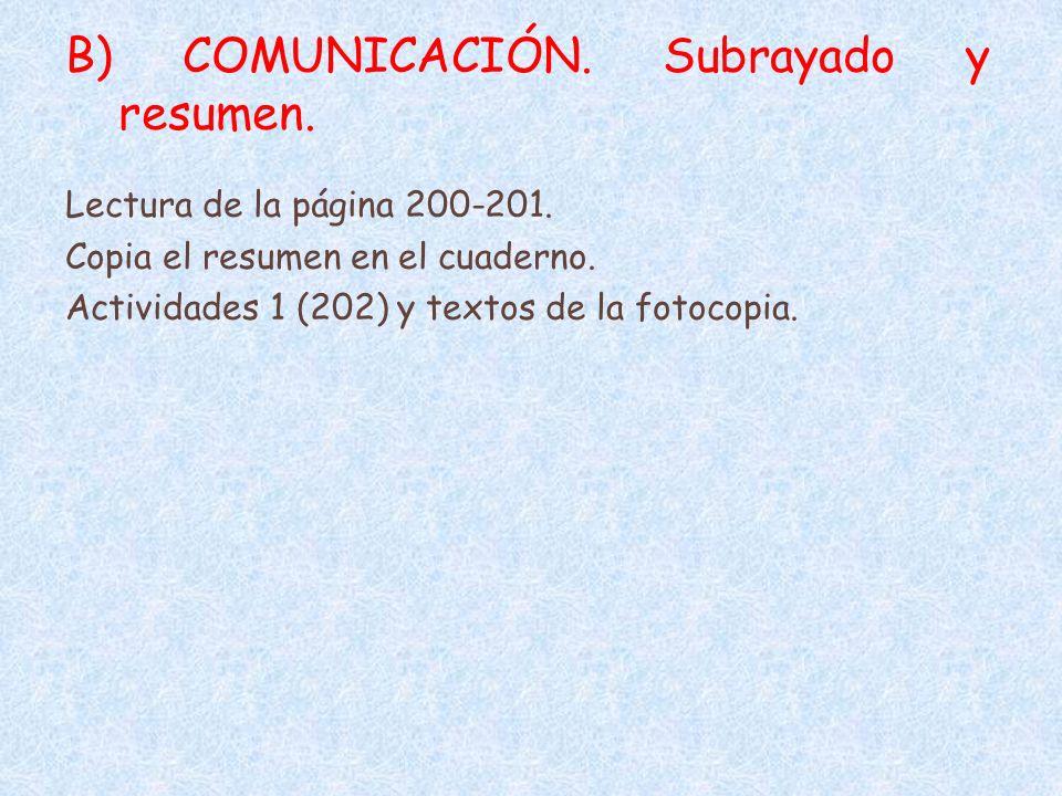 B) COMUNICACIÓN. Subrayado y resumen.