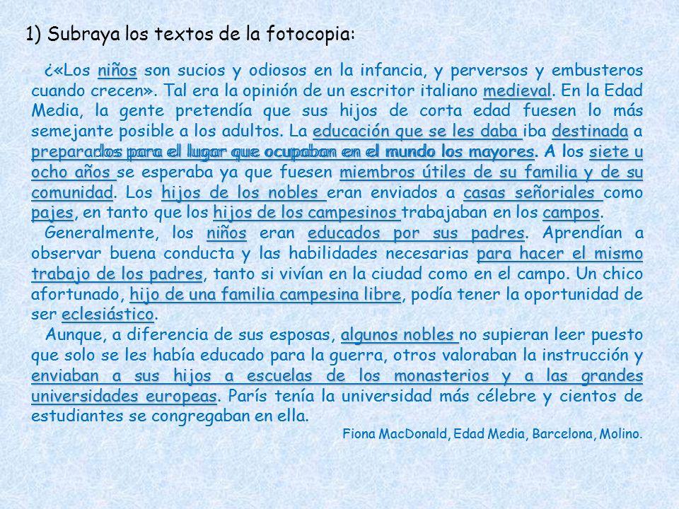 1) Subraya los textos de la fotocopia: