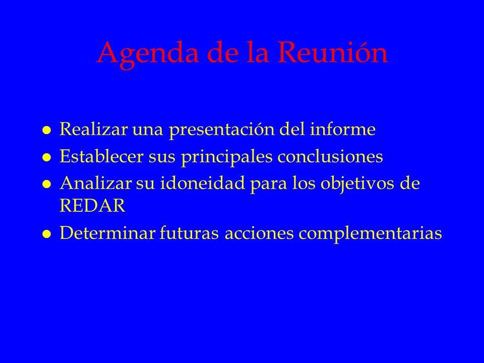 Agenda de la Reunión Realizar una presentación del informe