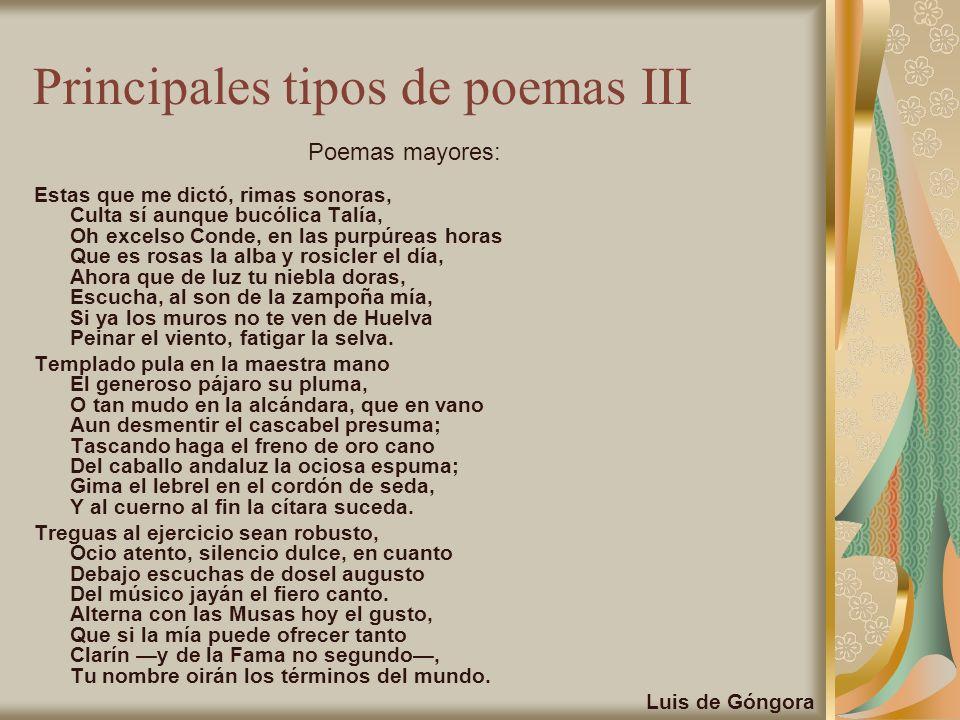 Principales tipos de poemas III