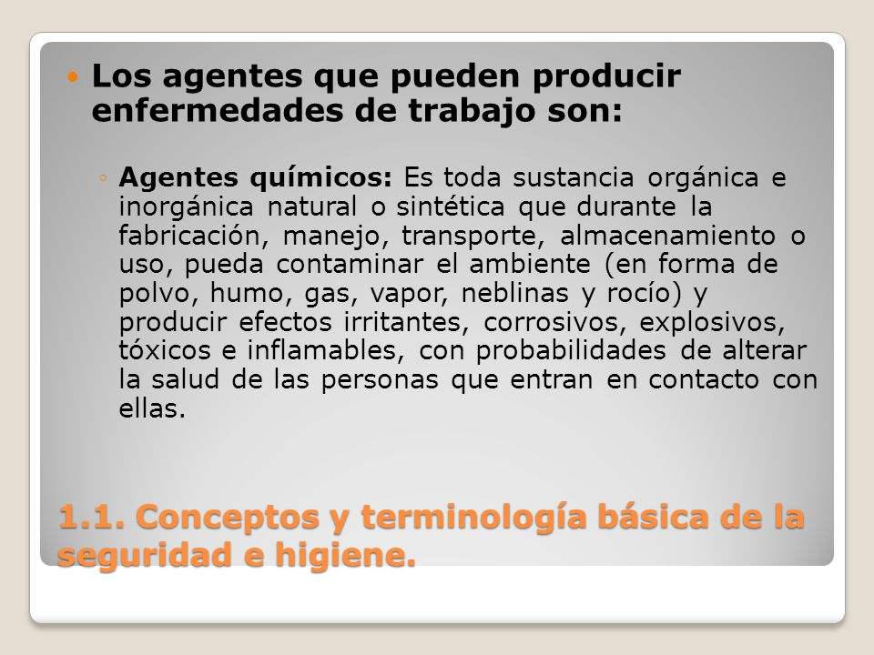 1.1. Conceptos y terminología básica de la seguridad e higiene.