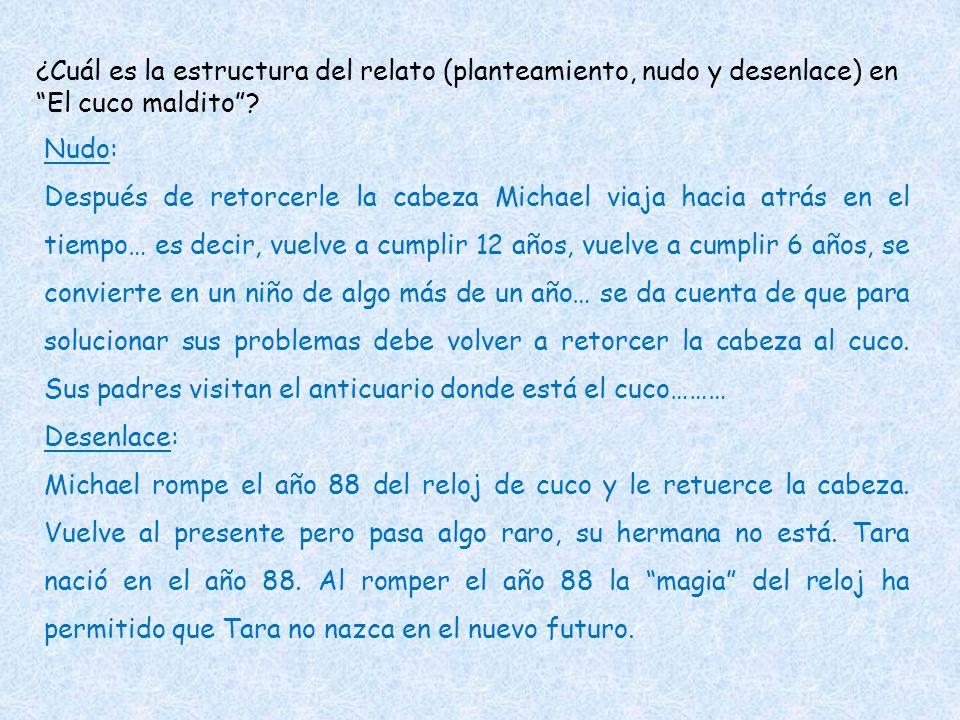 ¿Cuál es la estructura del relato (planteamiento, nudo y desenlace) en El cuco maldito