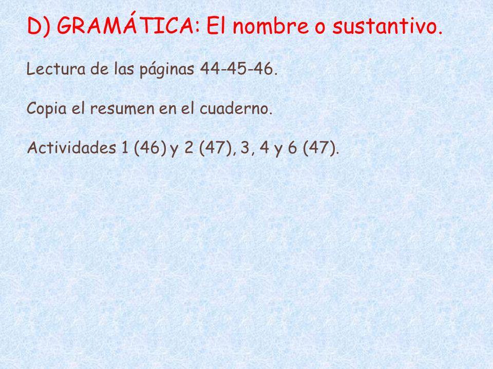 D) GRAMÁTICA: El nombre o sustantivo.