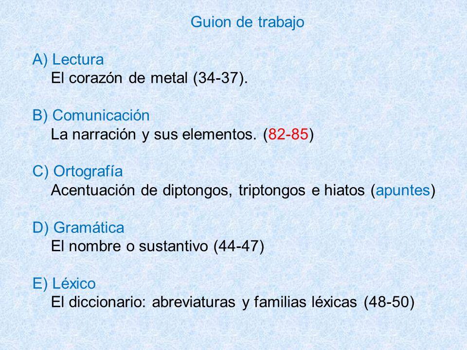 Guion de trabajo A) Lectura. El corazón de metal (34-37). B) Comunicación. La narración y sus elementos. (82-85)