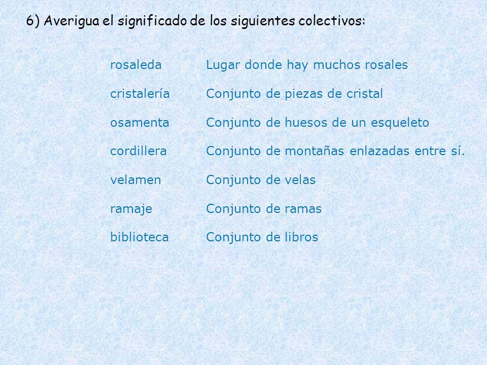 6) Averigua el significado de los siguientes colectivos: