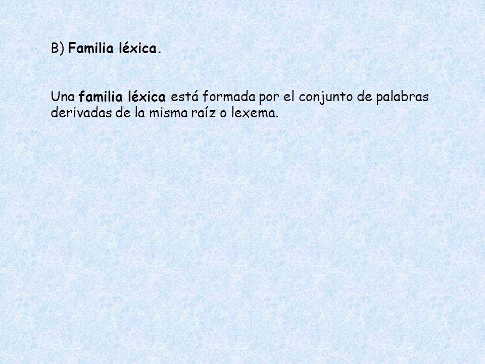 B) Familia léxica.