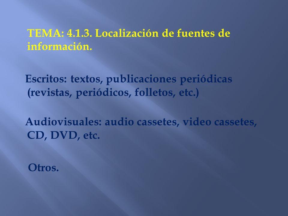 TEMA: 4.1.3. Localización de fuentes de información.