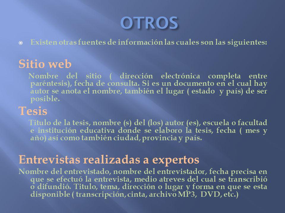 OTROS Sitio web Tesis Entrevistas realizadas a expertos