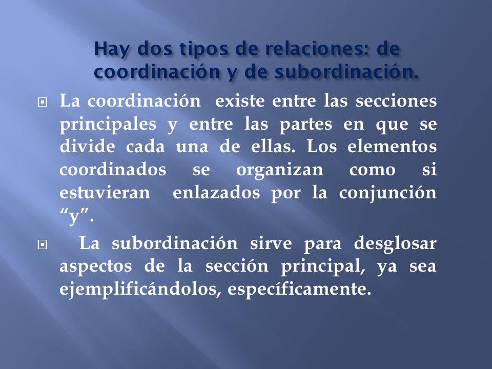 Hay dos tipos de relaciones: de coordinación y de subordinación.