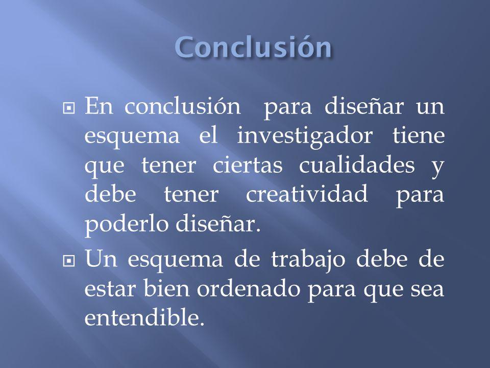 Conclusión En conclusión para diseñar un esquema el investigador tiene que tener ciertas cualidades y debe tener creatividad para poderlo diseñar.