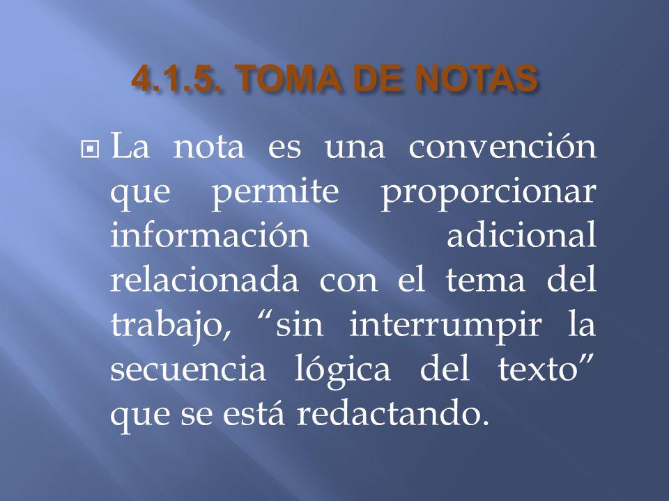 4.1.5. TOMA DE NOTAS